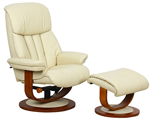 The Hereford Genuine Top Grain Leather Swivel Recliner Chair in Cream Leather Recliner Chair
