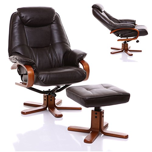 The Macau Bonded Leather Recliner Swivel Chair & Matching Footstool in Chocolate Leather Recliner Chair